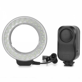 WanSen W48 4W 480lm 48-LED Annular Shaped Micro Fill-in Light Flash for Canon / Nikon Black