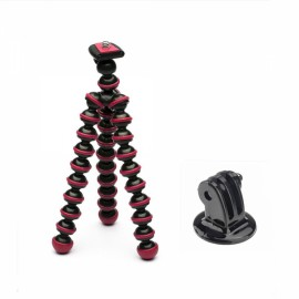 JUSTONE J005-2 Mini Portable Octopus Tripod Mount Holder for GoPro Hero 4/2/3/3 +/SJ4000 Black & Rose Red