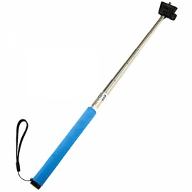 J022-2 Soft Sponge Aluminum Alloy Selfie Rod Monopod with Mount Adapter for GoPro Hero 4/DV and More Blue & Silver