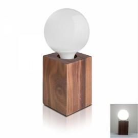 Modern Minimalist Solid Black Walnut Square Pure White Wood Table Lamp Bedside Lamp Desk Lamp with LED Bulb