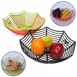Plastic Spider Web Fruit Candy Basket Bowl Halloween Party Decor Black