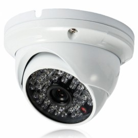 "1/4"" CMOS 48LED 1000TVL PAL 3.6mm Large Metal Surveillance Dome Camera White (UK Plug)"