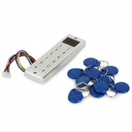 JAC33E Soft Touch Keypad Piezo Standalone Aluminum Alloy Access Controller System with 10 ID Key Fobs Silver