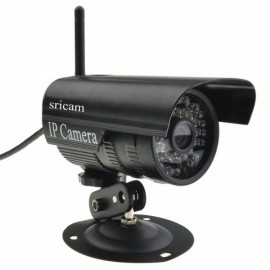 Wireless Sricam CMOS 1.0MP Outdoor IP Camera with 3.6mm Lens US Standard Plug Black