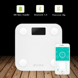 YUNMAI HaoQing Mini Smart Weighing Scale Digital Body Fat Electronic Balance Support Android and IOS Bluetooth White