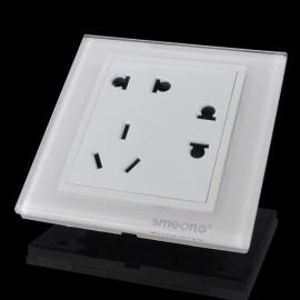 SMEONG Glass Panel 3-Socket Wall Mount Socket Outlet White (AC 250V)