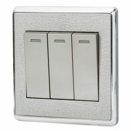 SMEONG Leather Lines Panel Stainless Steel Frame Three Gang Power Control Wall Switch Champagne