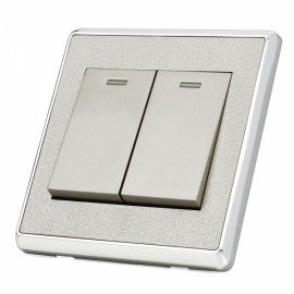 SMEONG Leather Lines Panel Stainless Steel Frame Two-Gang Power Control Wall Switch Silver