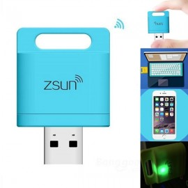 ZSUN Wi-Fi USB 2.0 Smart 128GB TF Card Reader for iPhone iPad iOS Android Windows PC Blue
