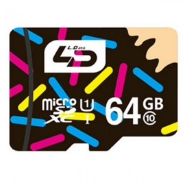 LD 64GB Class 10 Microsd TF Memory Card for Smartphone Multi-color