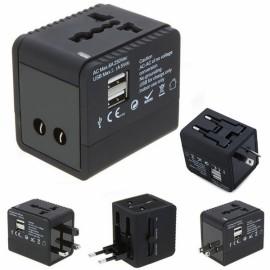 5V 2.1A 2-USB Worldwide Universal Travel Adapter Charger with US EU UK AU Plug Black