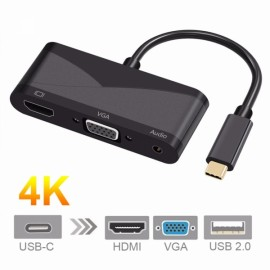 Cwxuan Type-C to 4K HDMI/VGA/3.5mm Audio/USB 2.0 Adapter for Laptop Macbook Google Samsung S8/S8 Plus