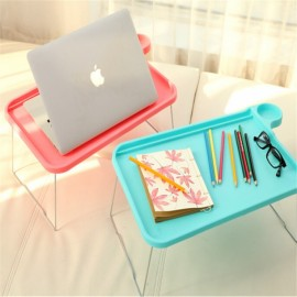 Foldable Plastic Notebook Desk Laptop Table Desk Stand Small Desk for Bed Office Furniture Pink