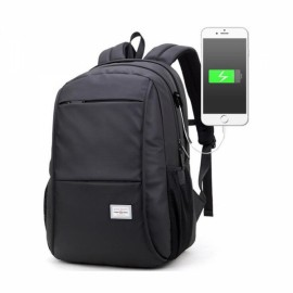 Man Computer Rucksack Travel Waterproof Backpack with USB Port Black