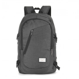 USB Charge Interface Casual Shoulder Canvas Bags Men Laptop Notebook Backpack Black