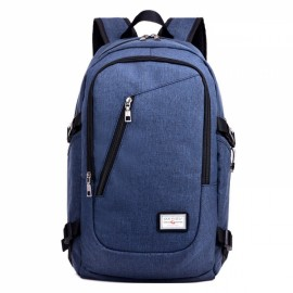 USB Charge Interface Casual Shoulder Canvas Bags Men Laptop Notebook Backpack Dark Blue
