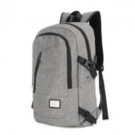 USB Charge Interface Casual Shoulder Canvas Bags Men Laptop Notebook Backpack Gray