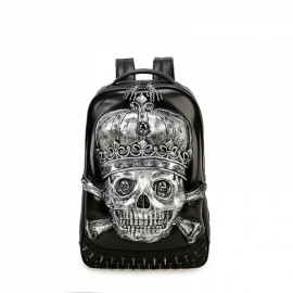 3D Skull Design PU Leather Backpacks Vintage Rock Rivet Computer Schoolbags Black & Silver Pattern