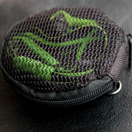 Nylon Storage Bag with Skullcandy Pattern for Earphones Headphones Black
