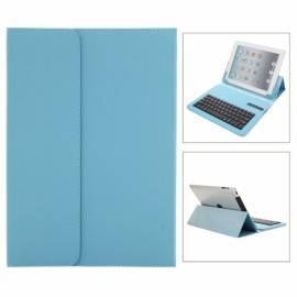 Stylish Bluetooth V3.0 Keyboard with Stand Leather Case & Suction Cup for iPad 2/3/4/5 Blue