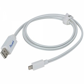 80cm MFi Power4 Visible Glowing 8-Pin to USB 2.0 Charge Sync Data Cable for iPhone/iPad/iPod White with Blue Light