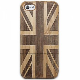 UK Flag Pattern Detachable Protective Wooden Back Case for iPhone 5C Brown & Black