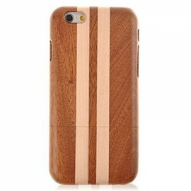Geometric Texture Detachable Wood Back Case for iPhone 6 Plus/6S Plus Brown