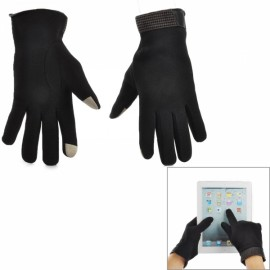 Universal Cotton Two Fingers Capacitive Screen Touching Hand Warmer Gloves Black