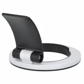 "270-Degree Rotation Round Desktop Mount Stand for iPhone / iPad / 7-9.7"" Tablet White & Black"