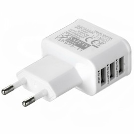 Cwxuan Universal 3-Port USB 5V Charger Adapter for iPhone/iPad/iPod/Samsung/other Phone Tablet White (EU Plug)
