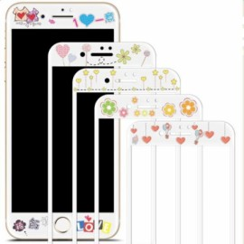 2*0.2mm Full Cover Cartoon Embossed Pattern Tempered Glass Film for iPhone7 Random Color