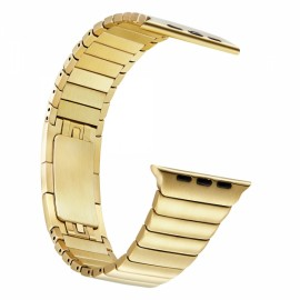 Stainless Steel Bracelet Watchband with Butterfly Closure for Apple Watch 38mm Golden