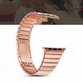 Stainless Steel Bracelet Watchband with Butterfly Closure for Apple Watch 38mm Rose Golden