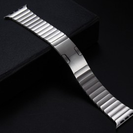 Stainless Steel Bracelet Watchband with Butterfly Closure for Apple Watch 42mm Silver