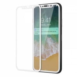 3Pcs 3D Full Cover HD Clear Screen Protector for iPhone X 9H Tempered Glass - White