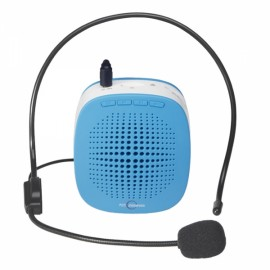 Portable Loudspeaker Voice Speech Amplifier with Headset for Teachers Tour Guides Blue