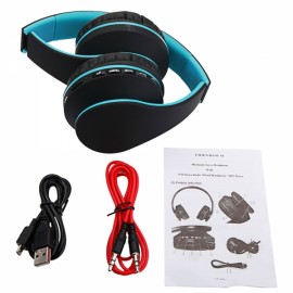 HY-811 Foldable FM Stereo MP3 Player Wired Bluetooth Headset Black & Blue
