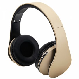 HY-811 Foldable FM Stereo MP3 Player Wired Bluetooth Headset Champagne