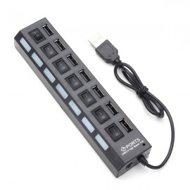 7-Port LED USB 2.0 Hub High Speed Mini USB Hub Adapter for Phones PC Devices Black