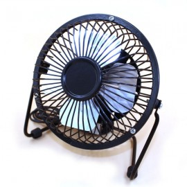 Portable Ultra Mute 360-Degree Rotation Blowing Metal USB Mini Fan for Laptop PC Black