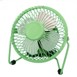 Portable Ultra Mute 360-Degree Rotation Blowing Metal USB Mini Fan for Laptop PC Green