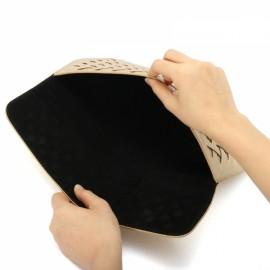 "13"" Weaving Laptop Bag PU Leather Case Cover Bag for Xiaomi Makbook Laptop Golden"