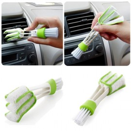 Microfibre Double Ended Car Air Conditioner Vent Slit Cleaner Brush Instrumentation Dusting Blinds Keyboard Cleaning Brush White & Green