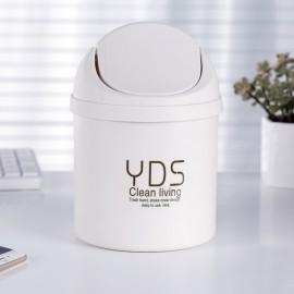 Creative Shake Cover Mini Trash Can Multifunctional Office Desktop Garbage Bucket Plastic Trash Bin White