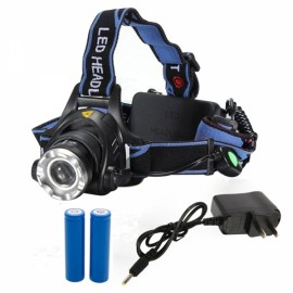XM-L T6 Middle Switch White Light Stretchable Headlamp Suit with US AC Adapter & 18650 Batteries Blue