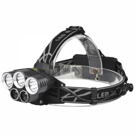 1500 Lumens Bicycle Headlight 6 Switch Modes 3 xT6 + 2 x LTS White Light Adjustable Headlamp White