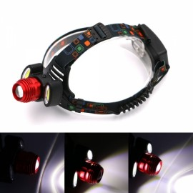 UltraFire Foreign Trade Selling Burst 1T6 +2 COB LED Aircraft Headlamp Aluminum Alloy Light Headlights Black & Red