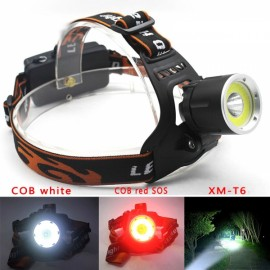Adjustable T6 COB Headlight 3 Mode Headlamp Black