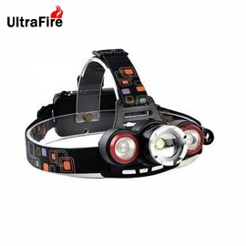 UltraFireT6 1000lm New Focus 3 Stalls White Waterproof Headlights Black & Silver