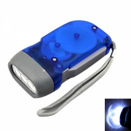 20 Lumens No Battery Dynamo Crank Wind 3 LED Flashlight Torch Blue